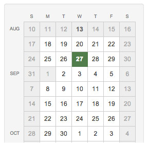 Calendar showing dates you can choose to have your swag delivered