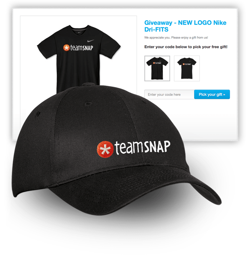 TeamSnap giveaway swag page showing a t-shirt and a cap