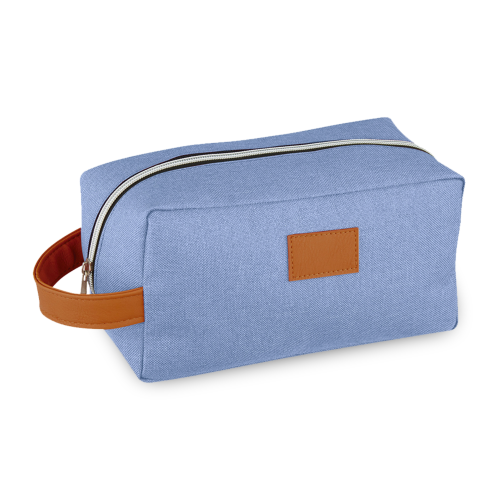 toiletry bag with leather details, another versatile promotional product